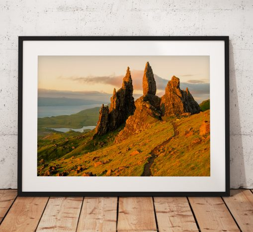 Old Man of Storr Morning Glow, Landscape photo print taken on the Isle of Skye, Scottish Highlands, UK.