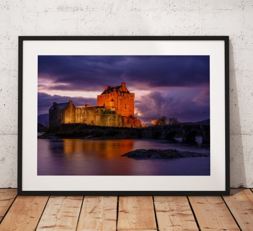 A night reflective photograph of Eilean Donan Castle, Kyle of Lochalsh in the Scottish Highland. Wall Art, Photo landscape print, gift