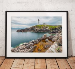 Northern Wild Landscape Photography - A vivid rock pool opposite the Fanad head lighthouse in Ireland, Photo print, wall art, Wild Atlantic Way