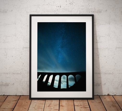 Astro photograph of the Milky way over the dramatic Ribblehead Viaduct in the Yorkshire Dales. England, Star photo, Fine Art, Home Decor