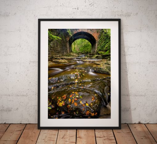 Autumn photography, Woodland, Stream, Autumnal, Trees, Bridge, North York Moors, Countryside, Landscape Photo, England, Wall art print