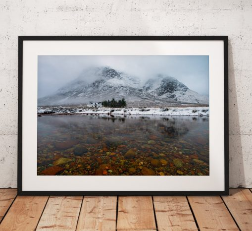 Buachaille Etve Mor mountain and climbers cottage in Glencoe , Scottish Highlands. Photo print