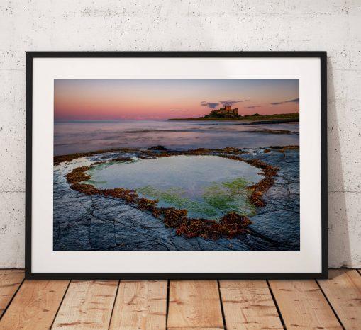 Coast Landscape Photography, Bamburgh Castle beach rockpool , Northumberland England. Landscape Photo. Mounted print. Wall Art.