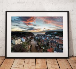 Coastal landscape Photograph of Staithes village/ Print/ Sunrise/ North York Moors/ England/ Photo/ Mounted print/ Wall Art.