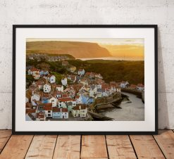 Coastal Landscape Photography. Staithes village sunset glow North York Moors, Cleveland Way Walk. England. Mounted print. Wall Art.