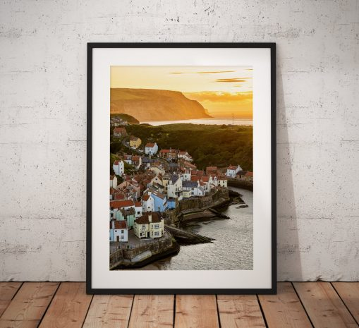 Coastal Landscape Photography. Staithes village sunset glow North York Moors, Cleveland Way Walk. England. Mounted print. Wall Art.