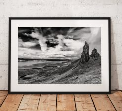Isle of Skye Landscape photo, Scotland, Highlands, Scottish, Mountain, Old Man of Storr,  Black and White, Mono, Wall Art