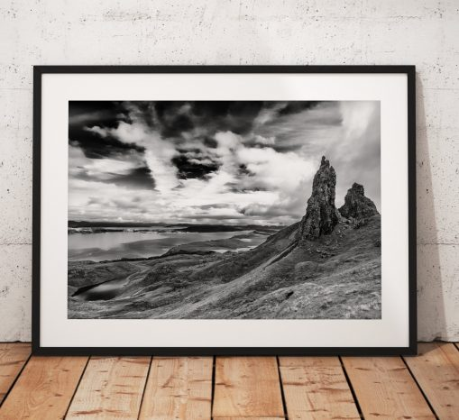 Isle of Skye Landscape photo, Scotland, Highlands, Scottish, Mountain, Old Man of Storr,  Black and White, Mono, Wall Art