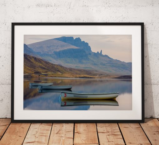 Isle of Skye Landscape photo showing rowing boat reflections and Old Man of Storr, Scotland, Scottish Highlands, UK. Wall Art photography
