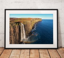 Kilt Rock waterfall rainbow photograph, isle of Skye,  Scotland,  Scottish Highlands,  Dramatic, Coast, Wall Art, gift
