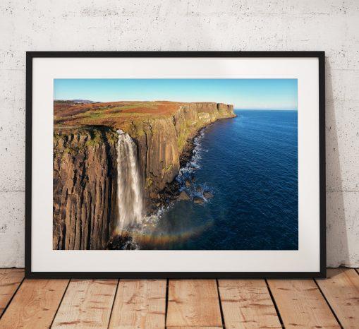Kilt Rock waterfall rainbow photograph, isle of Skye,  Scotland,  Scottish Highlands,  Dramatic, Coast, Wall Art, gift
