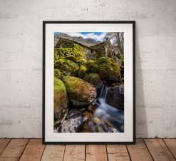 Lake District Landscape Photo showing a rustic old mill in the Borrowdale valley from a moss covered stream