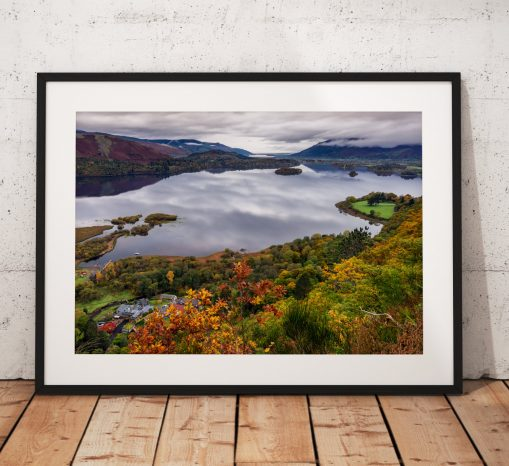 Lake District Landscape Photography, Derwentwater, Catbells, Cumbria, Autumn,  England. Landscape Photo. Mounted print. sunrise.