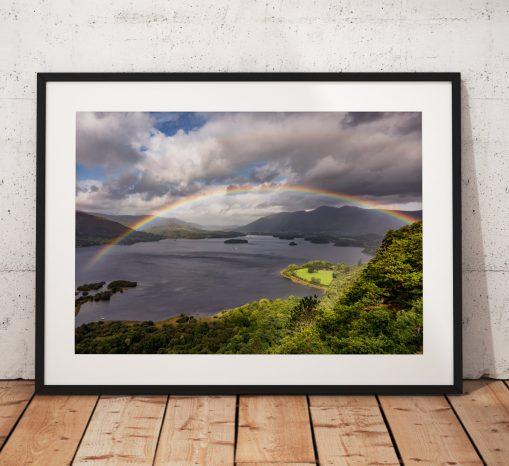 Lake District Landscape Photography, Derwentwater, Catbells, Cumbria, Rainbow,  England. Landscape Photo. Mounted print. sunrise.