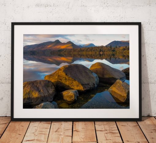 Lake District Landscape Photography, Derwentwater, Mountain, Catbells, Sunrise,  England. Landscape Photo. Mounted print. Home Decor
