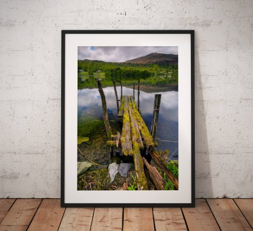 Lake District Landscape Photography, Grasmere, Old, Reflections, Jetty, Mountain, Water, England. Landscape Photo. Mounted print. Home Decor