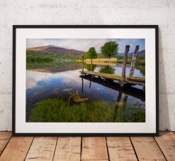 Lake District Landscape Photography, Grasmere, Reflections, Jetty, Mountain, Water, England. Landscape Photo. Mounted print. Home Decor