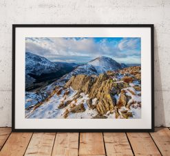 Lake District Landscape Photography, Haystacks, Mountain, Snow, Winter, Cumbria, England. Landscape Photo. Mounted print. Wall Art.