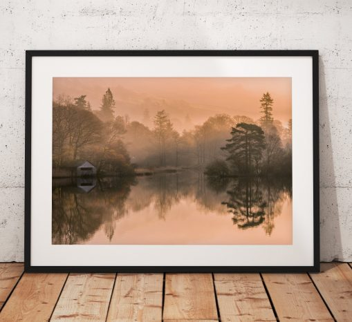 Northern Wild Landscape Photography - Lake District Landscape Photography. Misty scene showing the boathouse on Rydal water, England. Wall Art