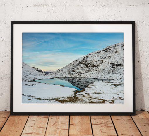 Lake District Landscape Photography, Styhead tarn, Mountain, Snow, Winter, Cumbria, England. Landscape Photo. Mounted print. Wall Art.