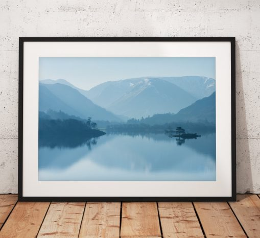 Lake District Landscape Photography, Ullswater Blues, Misty, Winter, Mountains, Morning, Cumbria, England. Landscape Photo. Mounted print