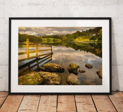 Lake District Photography, Loughrigg Tarn, Langdale Pikes, Sunrise, light, Nature, Autumn Trees, England. Landscape Photo. Home Decor, Art
