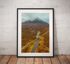 Landscape Photograph of Glencoe Valley in the Scottish Highlands. Showing an autumnal Buachaille Etve Mor in the background. Wall Art print