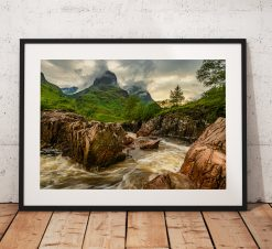 Landscape Photograph of the dramatic Three Sisters mountains in Glencoe during a storm, Scottish Highlands. Scotland. Wall Art