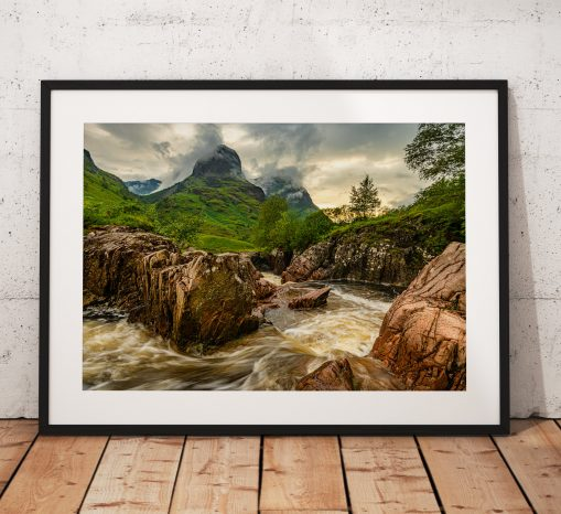 Northern Wild landscape Photography - The dramatic Three Sisters mountains in Glencoe during a storm, Scottish Highlands. Scotland. Wall Art