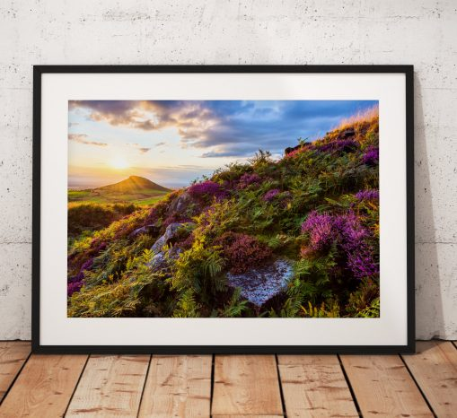 Landscape photography print Roseberry Topping Sunset Heather wild flower North York Moors English countryside mounted fine art print