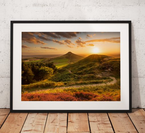 landscape Photography, Roseberry Topping, Summer, Sunset. North York Moors, England. Landscape Photo. Mounted print. Wall Art.