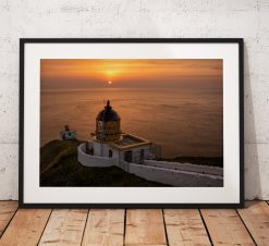 Lovely sunrise above the St Abbs Head lighthouse in Scotland and the Scottish Borders, United Kingdom, Wall Art, Photograph Print