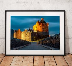 Night photograph of the historic  Eilean Donan Castle in the Scottish Highland, UK. Wall Art, Photo landscape print