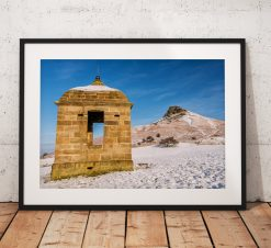 North York Moors Landscape Photography, Roseberry Topping,  Snow winter, England. landscape Photo. Mounted print. Wall Art.