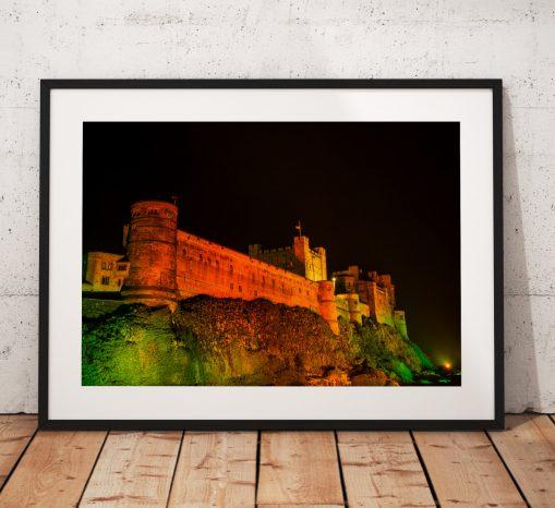 Northumberland Landscape Photography, Bamburgh Castle , England. Landscape Photo. Mounted print. Wall Art.