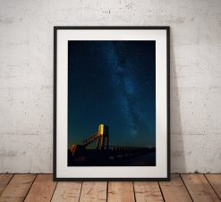 Northumberland Landscape Photography, Milkyway , Holy Island Causeway, night astro stars, England.  Photo. Mounted print. Wall Art.