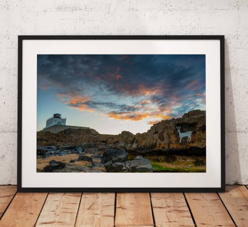 Northumberland  Photography, Bamburgh lighthouse, Stag rock, Coast, Sea, Sun, England. Landscape Photo. Mounted print. Wall Art.