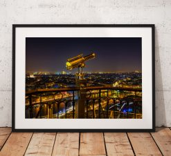 Paris Cityscape Photography, Eiffel tower, France, Night, City, Telescope. Landscape Photo. Long exposure. Wall Art.