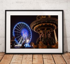 Paris Cityscape Photography, Place de la Concorde, Big Wheel, France, Night, City, Telescope. Landscape Photo. Wall Art, Home Decor, travel
