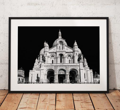 Paris Cityscape Photography, Sacre Coeur, Church Montmartre, France, Black and White. Landscape Photo. Mono, Wall Art, Home Decor