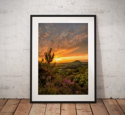 Photo of a dramatic sunset  looking towards Roseberry Topping. in the North York Moors, England. Landscape Photo. Mounted print. Wall Art.