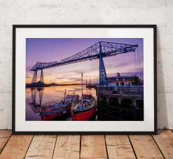 Photo of the Middlesbrough Transporter Bridge at Sunrise. Teesside,  North East England. Wall Art, Fine Art Photography