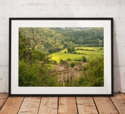 Rievaulx Abbey photograph taken looking through the woodland. North York Moors, History England. Landscape Photo. Mounted print. Wall Art.