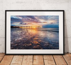 Saltburn Landscape Photography, Pier, Beach. Sunset. coast, Seaside, North York Moors, England. Landscape Photo. Mounted print. Wall Art.