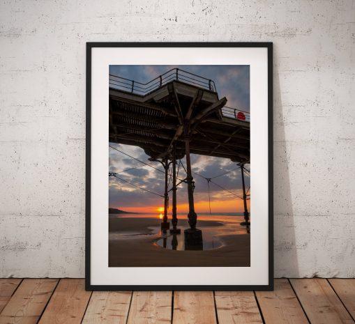 Saltburn Landscape Photography, Pier, Beach. Sunset. Glow, coast, Seaside, North York Moors, England. Landscape Photo. Wall Art.