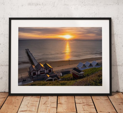 Saltburn Sunrise Photography, Pier, Beach. Sunset. coast, Seaside, North York Moors, England. Landscape Photo. Mounted print. Wall Art.
