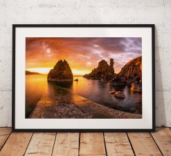 Scottish Coast Landscape photo, Sunset, Pettico Wick, St Abbs Head, Scotland, Glow, Seascape, Nature, Rocks, Cliffs, Dramatic, Wall Art