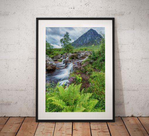Scottish Landscape photo of Glencoe Highlands, Scotland , Mountains waterfall, Fern,sunrise Buachaille Etve Mor Wall Art