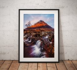 Scottish Landscape photo of Glencoe Highlands, Scotland , Mountains waterfall sunrise Buachaille Etve Mor Wall Art