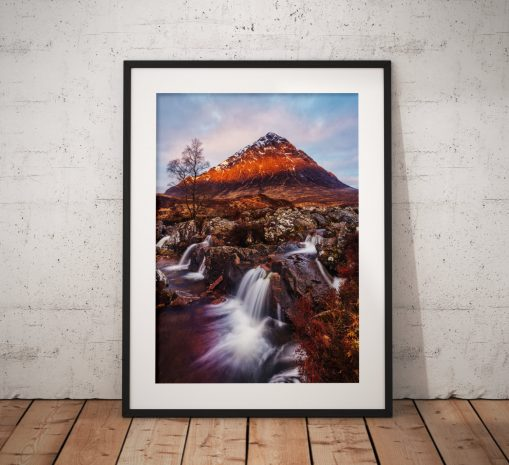 Scottish Landscape photo of Glencoe Highlands, Scotland , Mountains waterfall sunrise Buachaille Etve Mor Wall Art